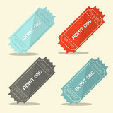 Admit One Vector Retro Ticket Set. Admit One Vector Flat Design Retro Ticket Set Royalty Free Stock Images