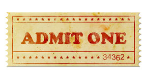 Admit one vintage ticket Royalty Free Stock Image