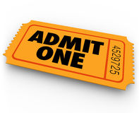 Admit One Words Ticket Cinema Theatre Concert Admission Entry Ac Royalty Free Stock Photos