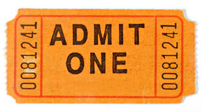Admit Ticket. An old admit ticket. Shows wear and stains royalty free stock photo