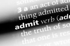 Admit. Word in a dictionary.  concept royalty free stock images