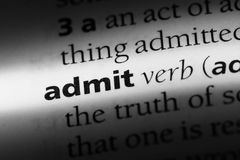 Admit. Word in a dictionary.  concept stock images