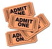 Admita los boletos de una película Fotos de archivo libres de regalías
