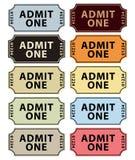 Admita que um tickets a coleção Imagens de Stock