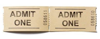 Admita que um tickets no branco foto de stock