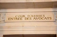 Admnistration français de justice, éditorial d'assise de cour Image libre de droits