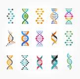 ADN, éléments génétiques et collection d'icônes Photos stock