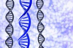 ADN azul com o original no fundo de Bokeh, isolado no fundo branco ilustração stock