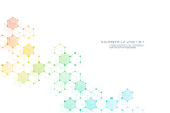 ADN de molécule de structure de système de neurones, génétique hexagonaux et de composés chimiques Illustration de vecteur Image stock