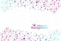 ADN de structure de molécule et fond de communication Lignes reliées avec des points Concept de la science, connexion Images libres de droits