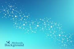 ADN moderne de molécule de structure atome Molécule et fond de communication pour la médecine, la science, technologie, chimie Image stock