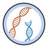 ADN sous l'icône de microscope, style plat illustration libre de droits