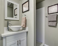 Ładna łazienka z popielatymi zieleni ścianami i prostym wystrojem Zdjęcie Royalty Free
