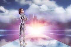 Ładna azjatykcia kobieta jest ubranym lateksowego kombinezon Zdjęcie Stock