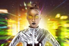 Ładna azjatykcia kobieta jest ubranym lateksowego kombinezon Obrazy Royalty Free