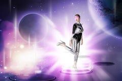 Ładna azjatykcia kobieta jest ubranym lateksowego kombinezon Obraz Royalty Free