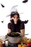 Ładna czarownica robi magii na Halloween Obraz Stock