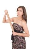 Ładna dama z kijem bejsbolowym, odizolowywającym na bielu Zdjęcia Stock