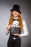 Ładna dziewczyna jest ubranym retro kapelusz Fotografia Royalty Free