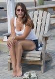 Ładna dziewczyna w Tajemniczym Marina Connecticut obrazy royalty free