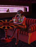 Ładna kobieta w barze Zdjęcia Royalty Free