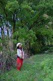 Ładna kobieta w lesie Zdjęcie Stock
