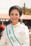 Ładna kobieta w paradzie, Parasolowy festiwal w Tajlandia Fotografia Stock