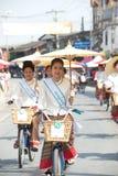 Ładna kobieta w paradzie, Parasolowy festiwal w Tajlandia Obraz Royalty Free