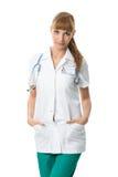 Ładna kobiety lekarka w medycznej todze Zdjęcie Stock