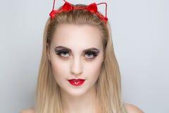 Ładna kot kobieta Fotografia Stock