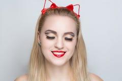 Ładna kot kobieta Obrazy Stock