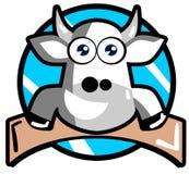 Ładna kreskówki krowa na etykietce Obraz Stock