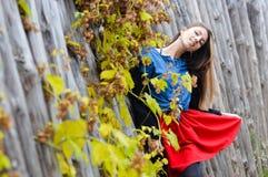 Ładna potomstwo mody kobieta jest ubranym czerwony mini Obrazy Royalty Free