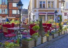 Ładna uliczna kawiarnia Obraz Stock