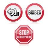 Żadny łapówki, sto korupci czerwieni znak ostrzegawczy ilustracji
