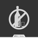 Żadny alkohol ikona dla sieci i wiszącej ozdoby Obrazy Royalty Free