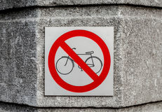 Żadny bicykl pozwolić znak Obrazy Stock