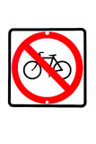 Żadny bicykle pozwolić znaki Zdjęcia Stock