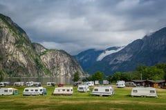 Ładny camping przy fjord Norwegia Zdjęcia Royalty Free