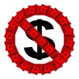 Żadny dopuszczenie znak zrobił †‹â€ ‹sto dolarowych banknotów Obraz Stock