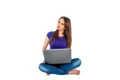 ładny dziewczyna laptop Fotografia Stock