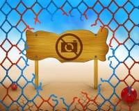 Żadny fotografia zdobycz pozwolił symbol i czerwieni i błękita na drewnianej, łamanej sieci Zdjęcie Royalty Free