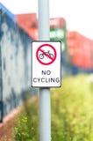 Żadny kolarstwo znak outdoors Obraz Stock