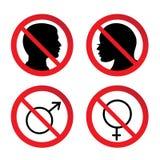 Żadny mężczyzna i kobiety znak Obrazy Royalty Free