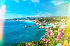Ładny miasto, francuski Riviera, morze śródziemnomorskie Światło przecieki Zdjęcie Royalty Free
