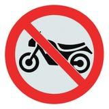 Żadny motocyklu znak, odosobniony żadny rowery pozwolił prohibici strefie ostrzegawczego signage Zdjęcia Stock