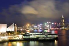 Ładny noc widok morden budynek, Hong Kong Fotografia Stock