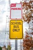 Żadny parking autobus szkolny tylko Zdjęcia Stock