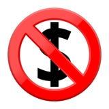 Żadny pieniądze znaka ikona na białym tle Fotografia Stock