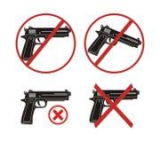 Żadny pistolet - ikona sety Obrazy Royalty Free